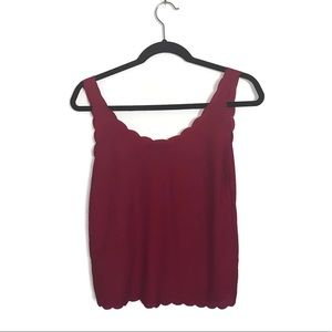 Top Shop Scalloped Red Tank Top